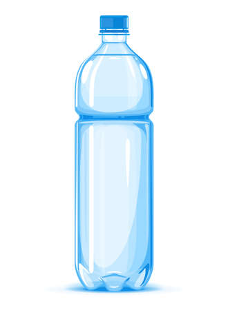 One half liter plastic water bottle of drinking water quality illustration on white background, water delivery service of fresh purified water isolated illustration, plastic bottle on side view