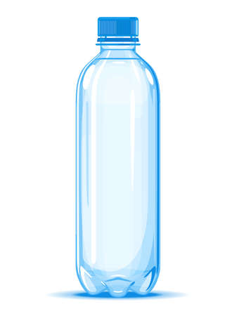 One small half liter plastic water bottle of drinking water quality illustration on white background, water delivery service of fresh purified water isolated illustration, plastic bottle on side view
