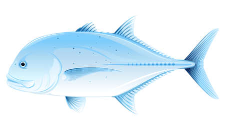 Giant trevally one sea fish illustration isolated Иллюстрация