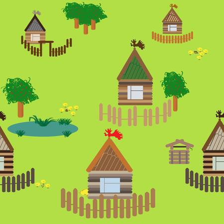 Seamless background with the village houses Illustration