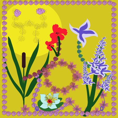 Bright picture with different flowers Vector