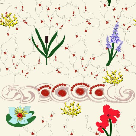 Seamless background with a floral motif