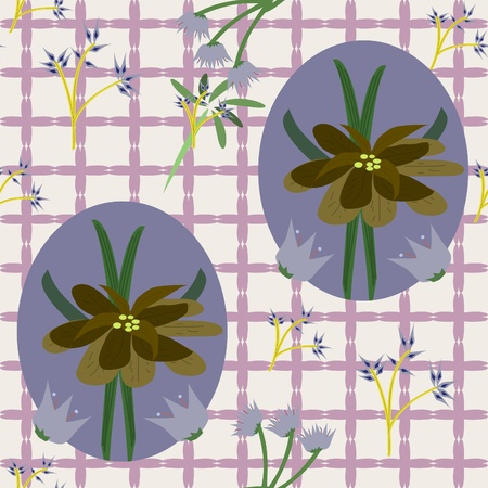 seamless background light in the cage with flowers Vector