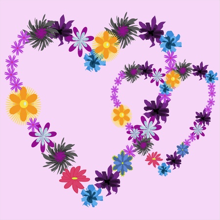Background with two hearts with flowers
