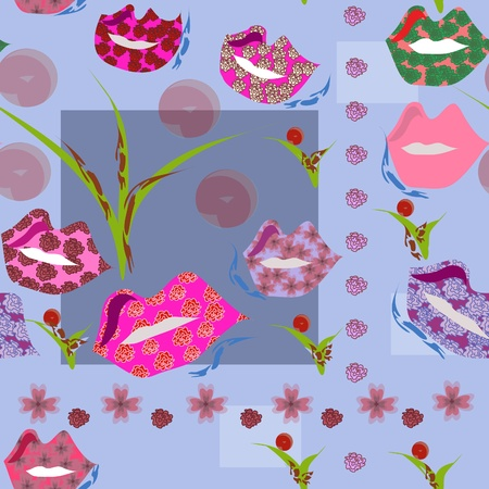 Female seamless background with lips
