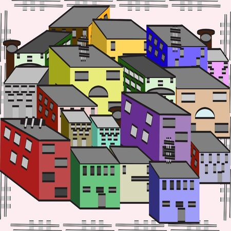 overpopulation: Seamless background with multi-colored houses Illustration