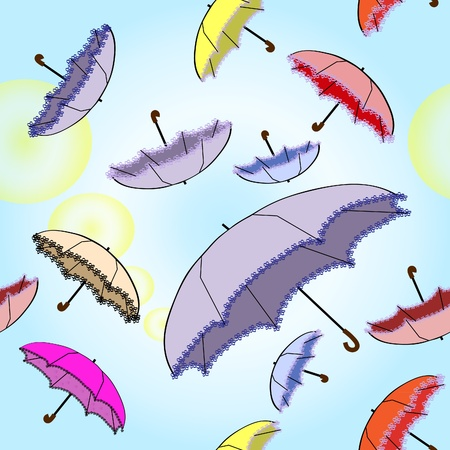Seamless bright background with umbrellas Illustration