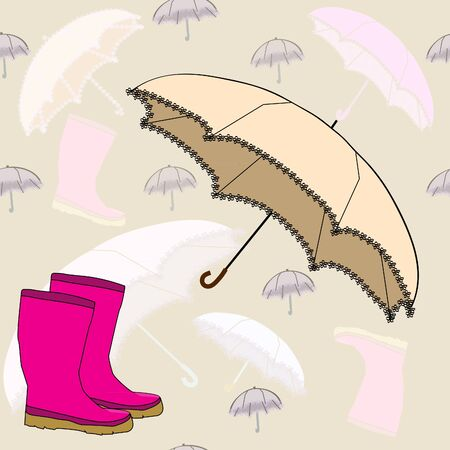 Seamless background with rubber boots and an umbrella