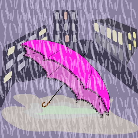 Picture with the fallen umbrella during a rain Stock Vector - 10253298