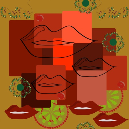Seamless background with female lips Illustration