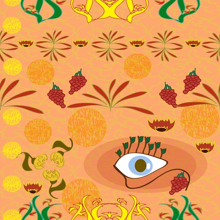 floral seamless background with an eye
