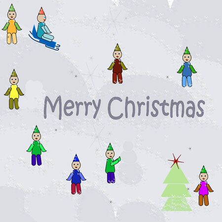 New Years childrens background with little men Illustration