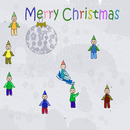 New Years childres background with little men