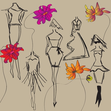 bocetos de personas: Imagen de estilo de una imagen de moda