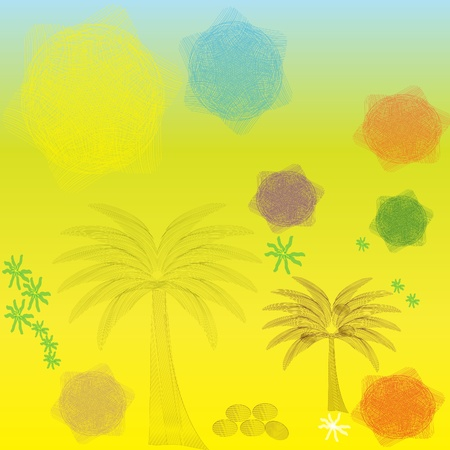 colored palm trees and patches of