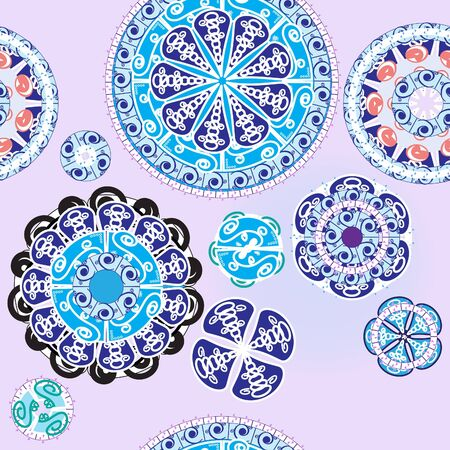 Ethnic background seamless pattern with circles of