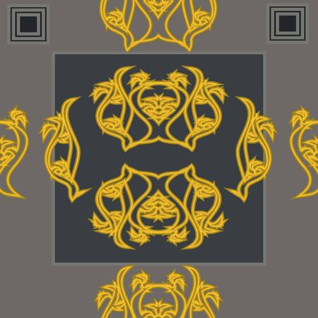 Gray seamless background with gold ornament