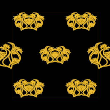 gold tracery on a black background, seamless