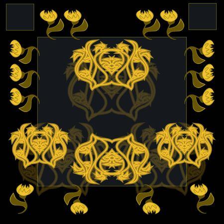 shone: Gold shone pattern on a black background, seamless Illustration
