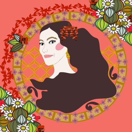 A woman`s  face in the style of Art Nouveau Vector