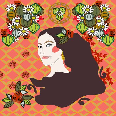 A woman`s face in the style of Art Nouveau Stock Vector - 12205046