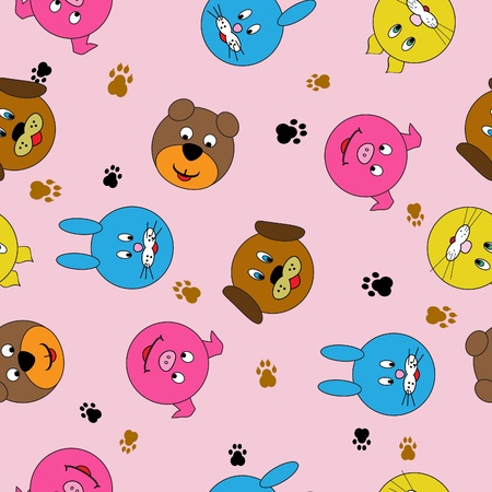 seamless background with muzzles beasts