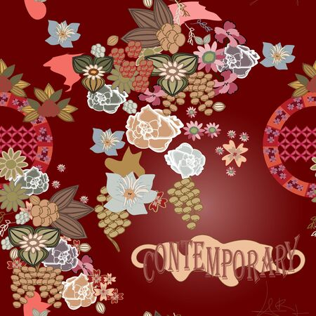 Red vector seamless background with flowers
