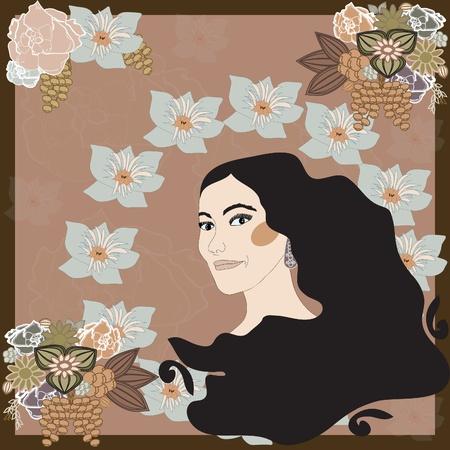 A woman`s face in the style of Art Nouveau with flowers Vector