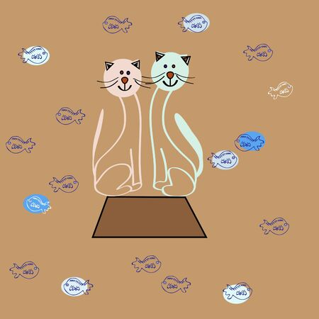 Cartoon cats with Small fishes