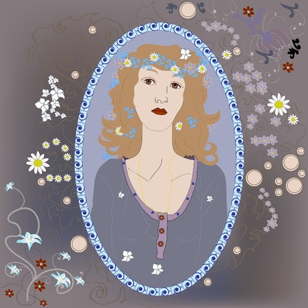 portrait of a young girl Art Nouveau Stock Vector - 12793745