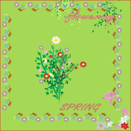 vector summer flowers on a green background Illustration