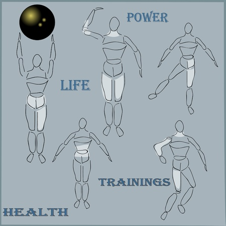 drawing figures with muscles Illustration