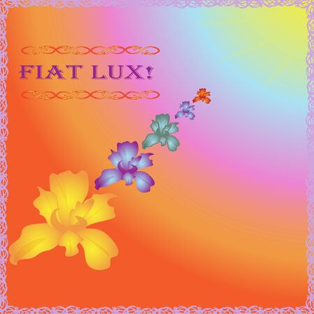 bright vector with lilies and Latin