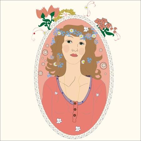 portrait of a young girl Art Nouveau.  Illustration