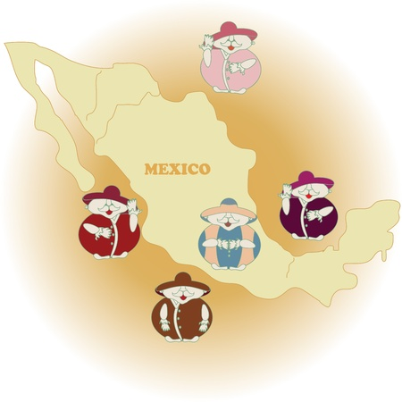 cheerful illustration with Mexicans