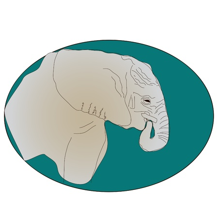 painted green icon with the elephant   vector Illustration
