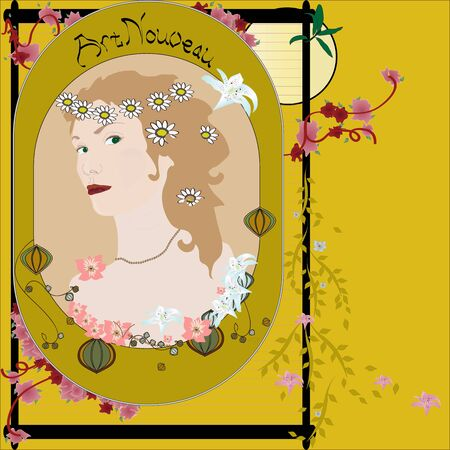 portrait of a young girl in the style of Art Nouveau Vector