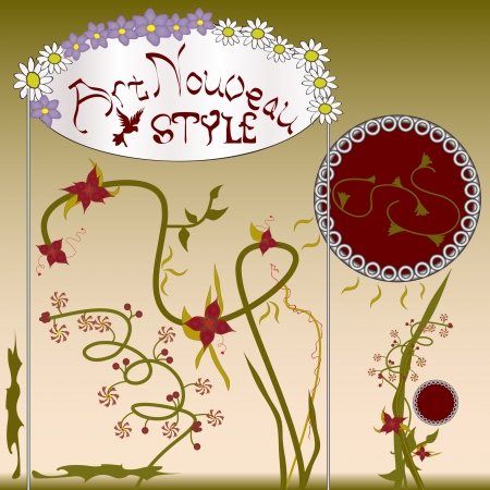 chamomile flower: bright picture in the style of Art Nouveau