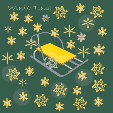 winter illustration with a sledge