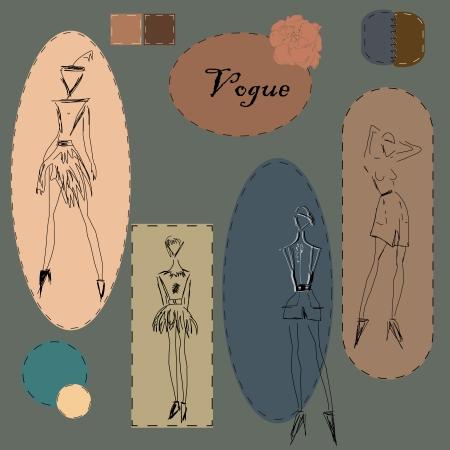 Stylish image of fashionable clothes Illustration