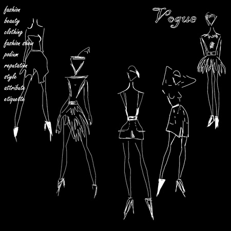 fashionable drawing with sketches of clothing
