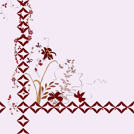 seamless background with flowers. Wallpapers from herbarium Illustration