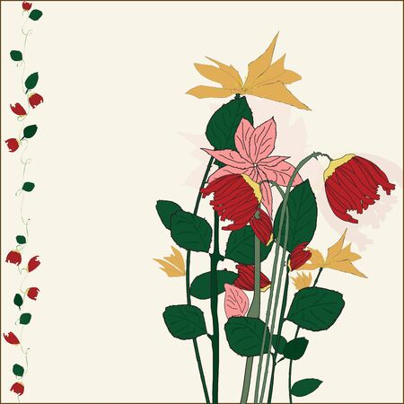 painted flowers in retro style