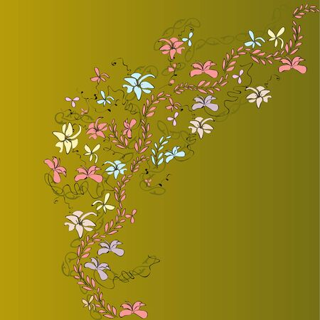 bright picture with flowers and patterns Illustration