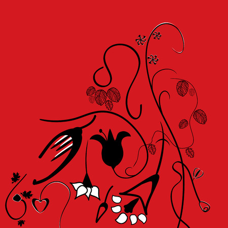 bright red and black abstract floral background vector Vector