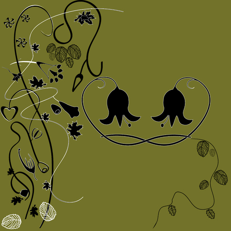 bright picture vector of swamp colors with abstract flowers