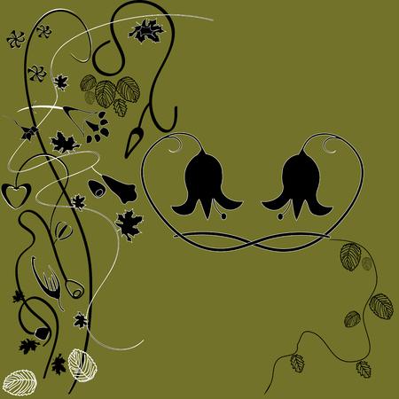 chaume: vecteur d'image brillante de couleurs de marais avec des fleurs abstraites