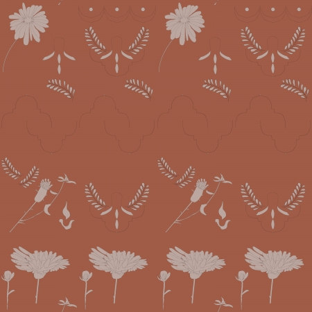 seamless background with flowers made-up on a red background