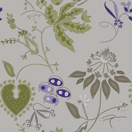 painted flowers on a gray background, seamless pattern