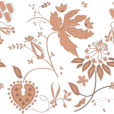 painted peach-colored flowers on a white background Illustration